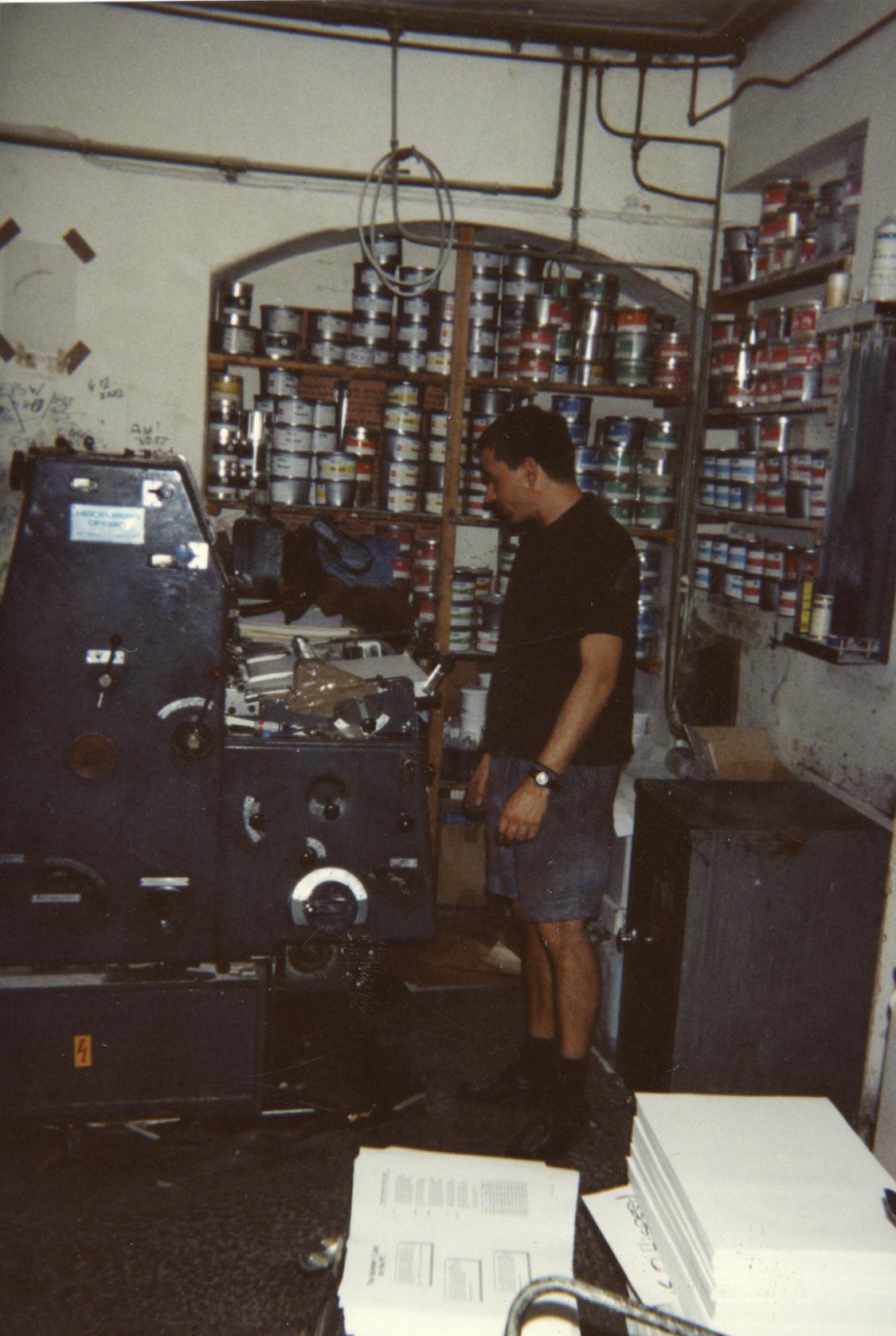 Person printing at Aldgate Press