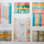 Abstract prints on a wall