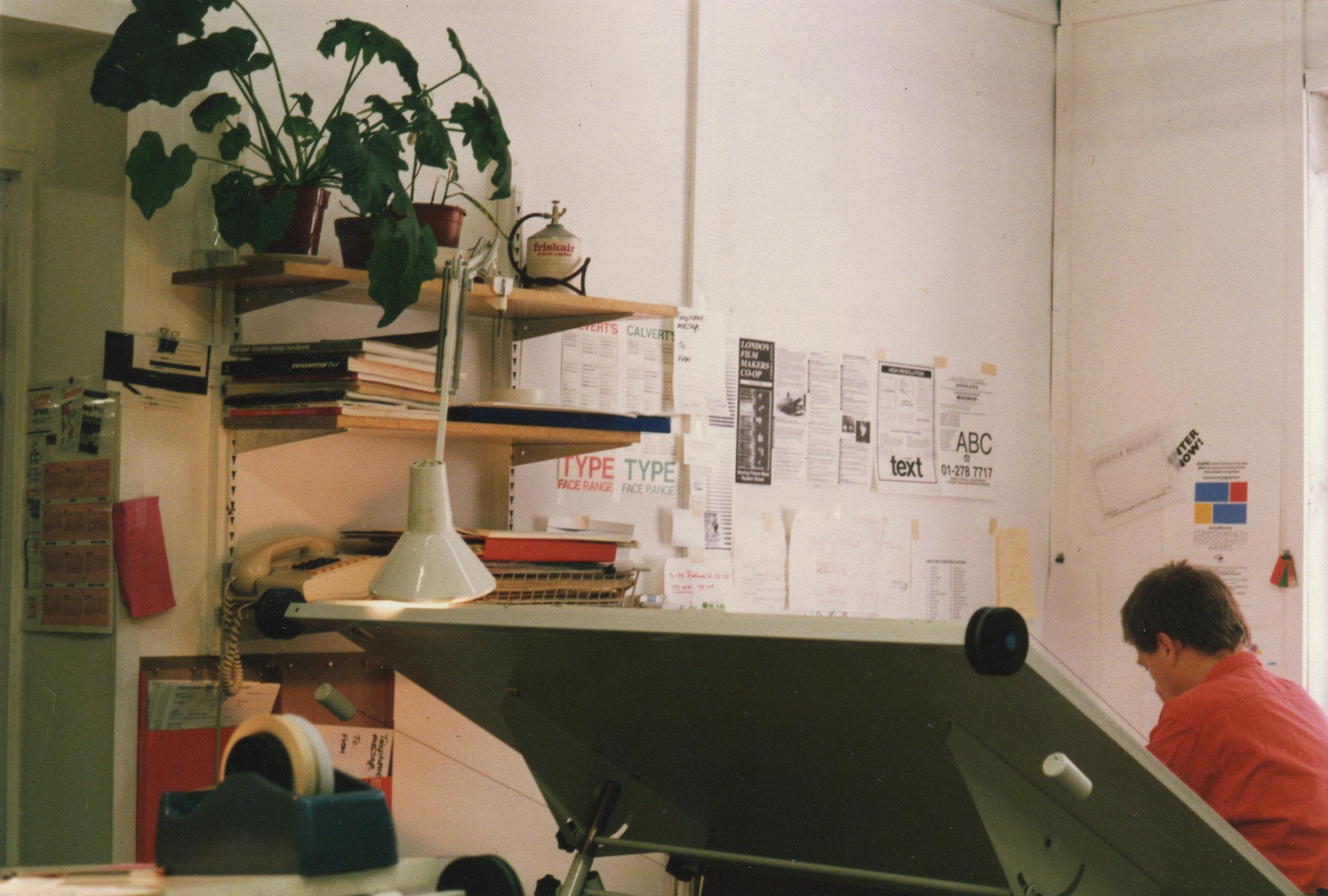 Man at desk in studio