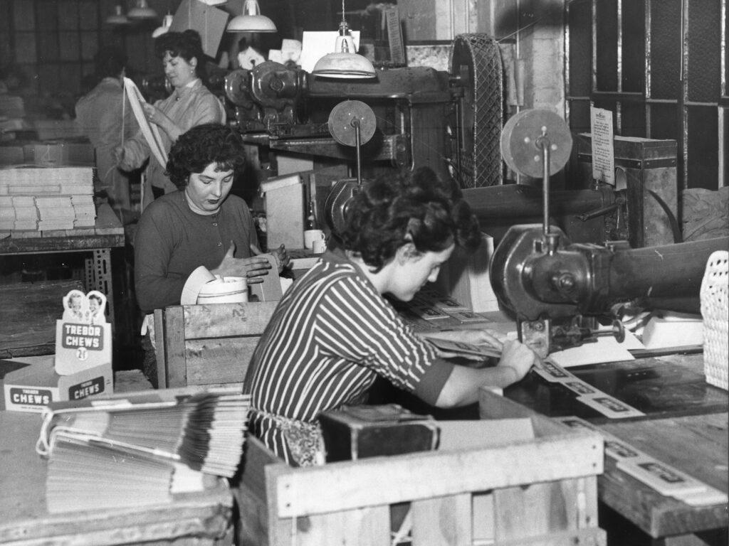 Women at work making up Trebor boxes