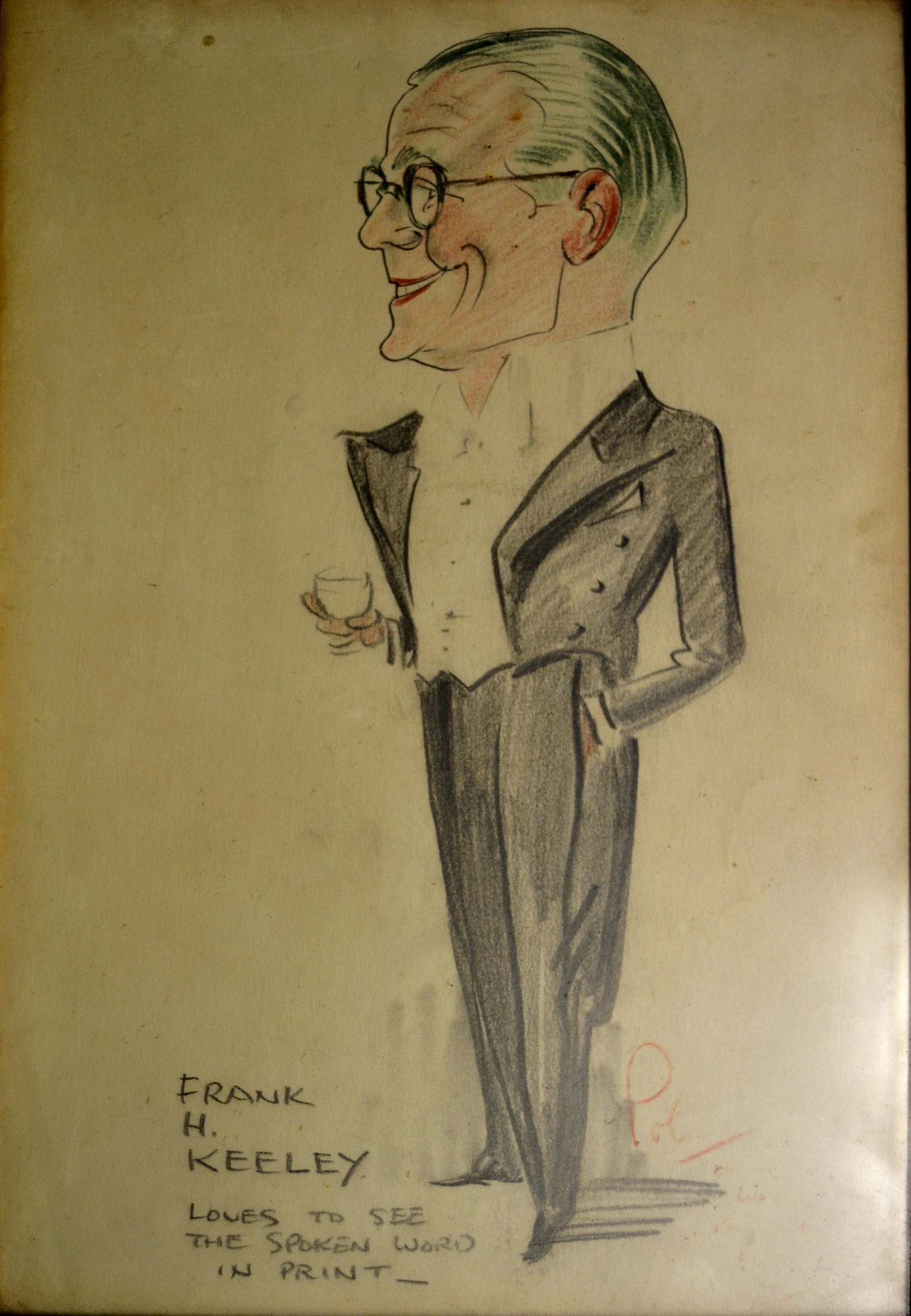 Drawing of man in dinner suit