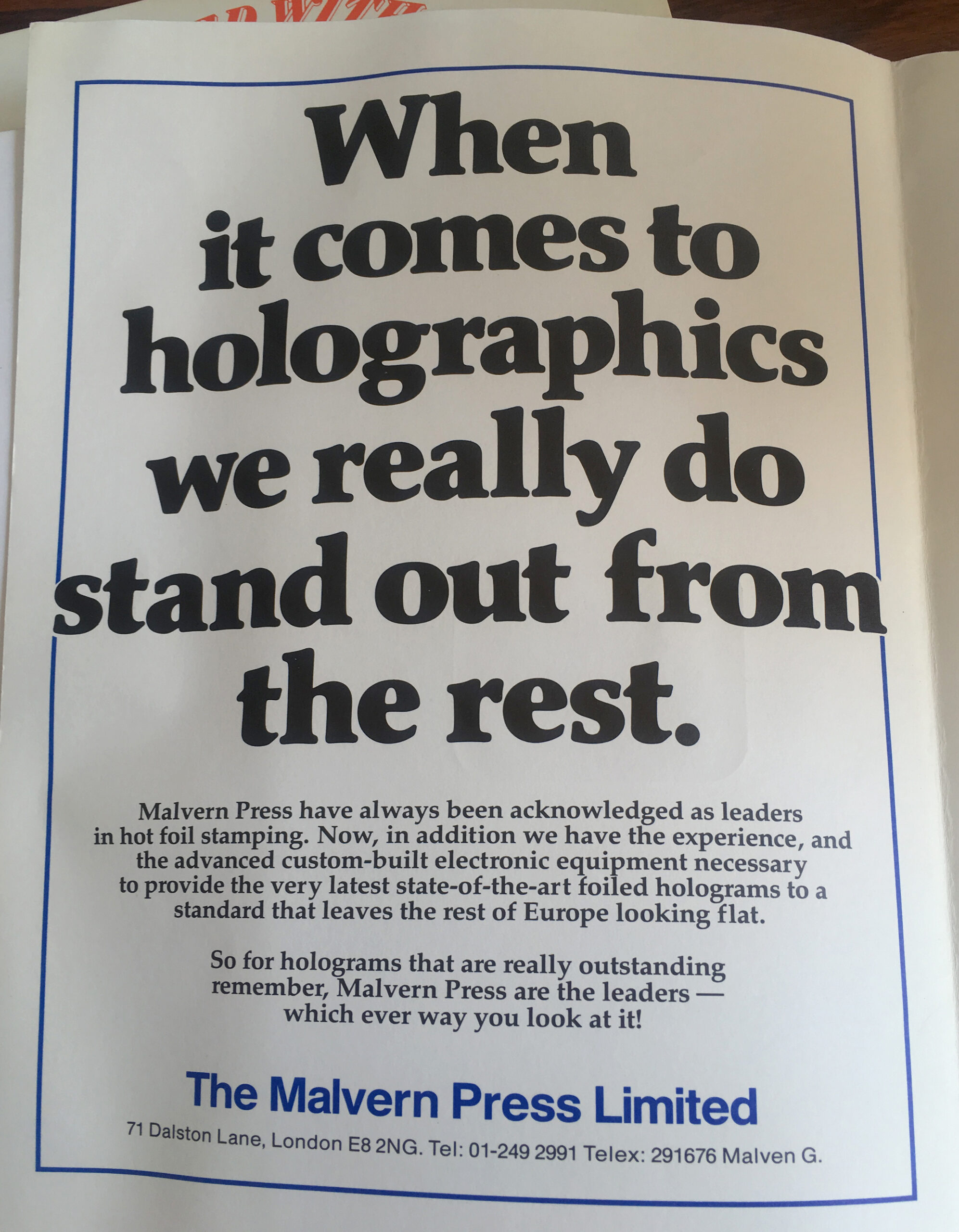 Printed magazine advert 'The Malvern Press Limited'