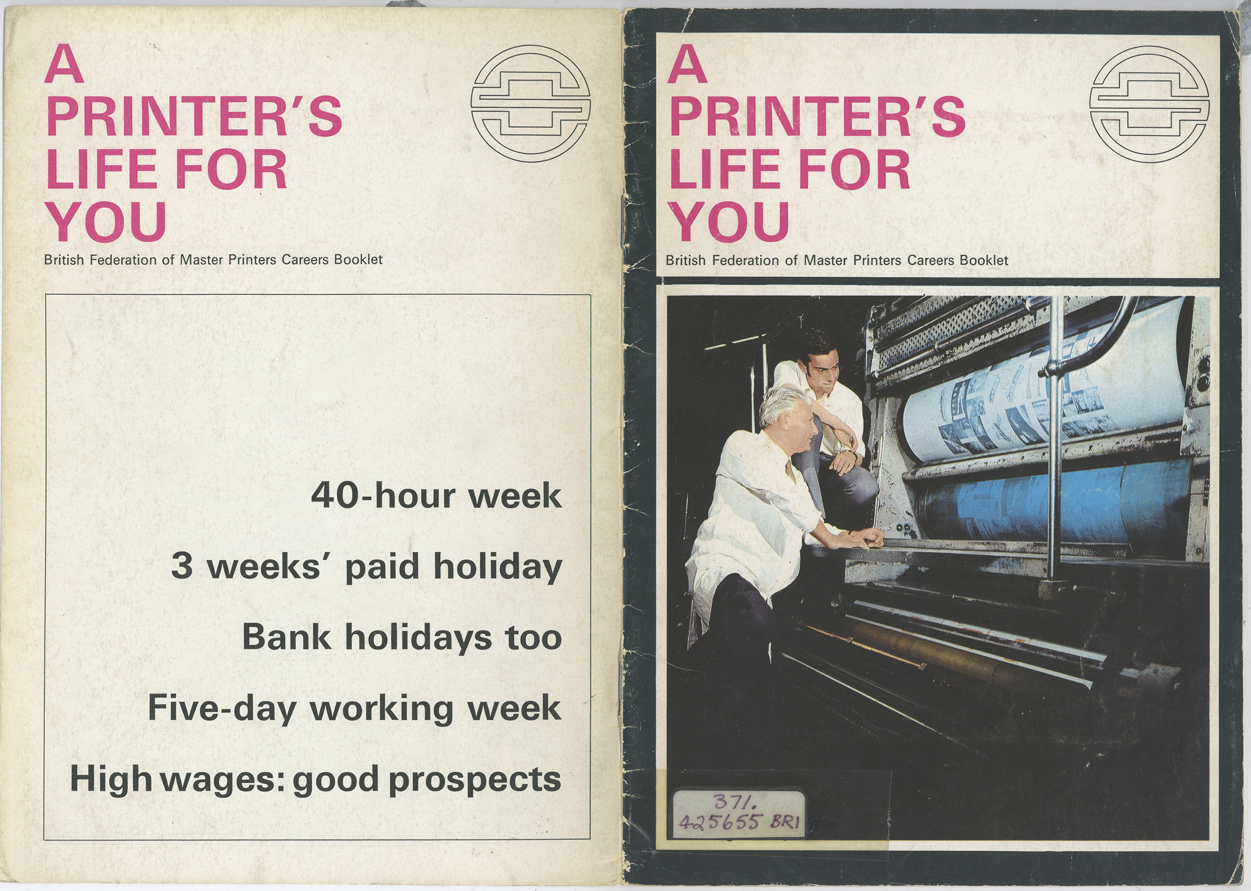 Printed book cover 'A Printer's Life for You'