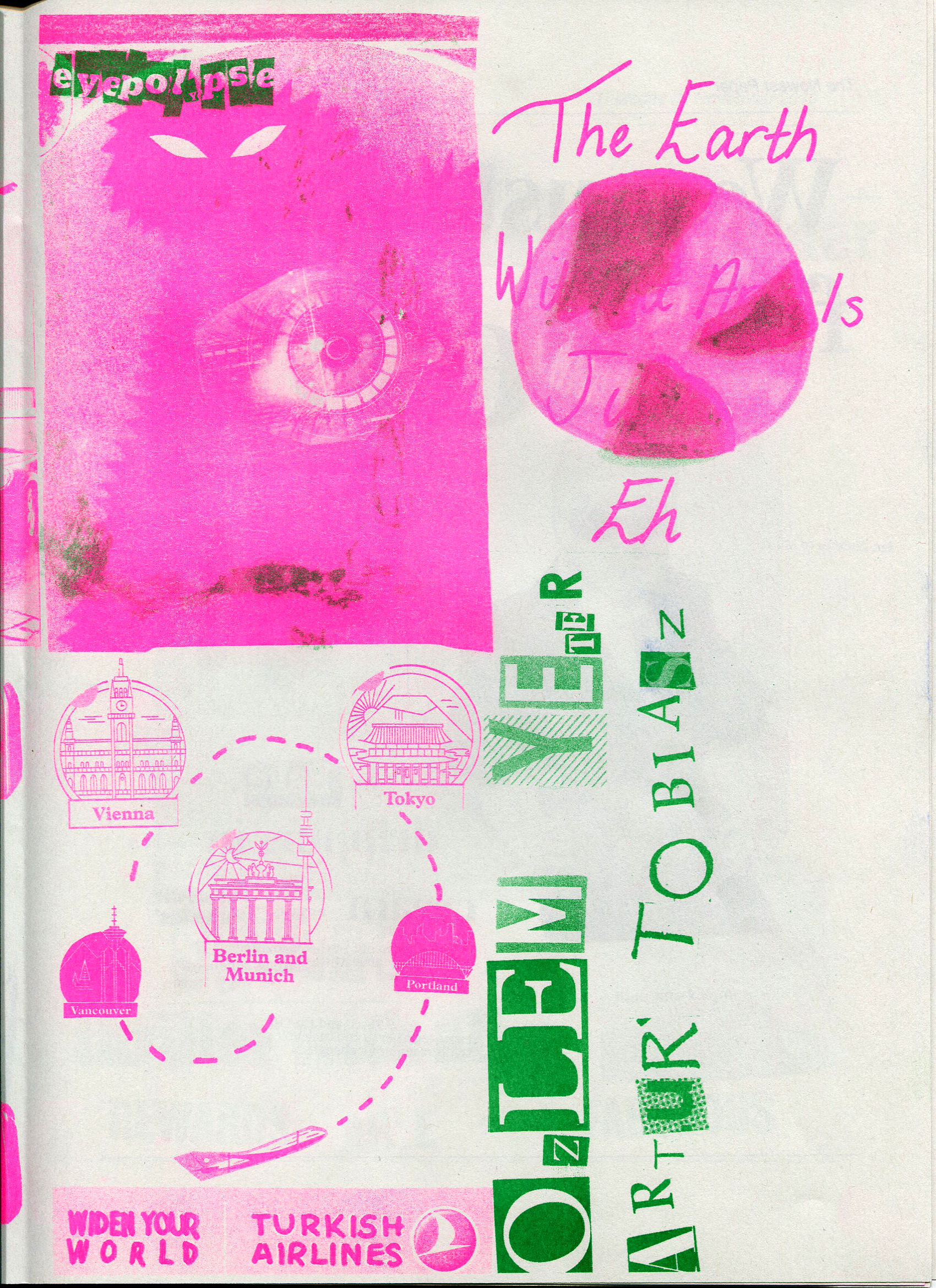 Pink and green printed collage