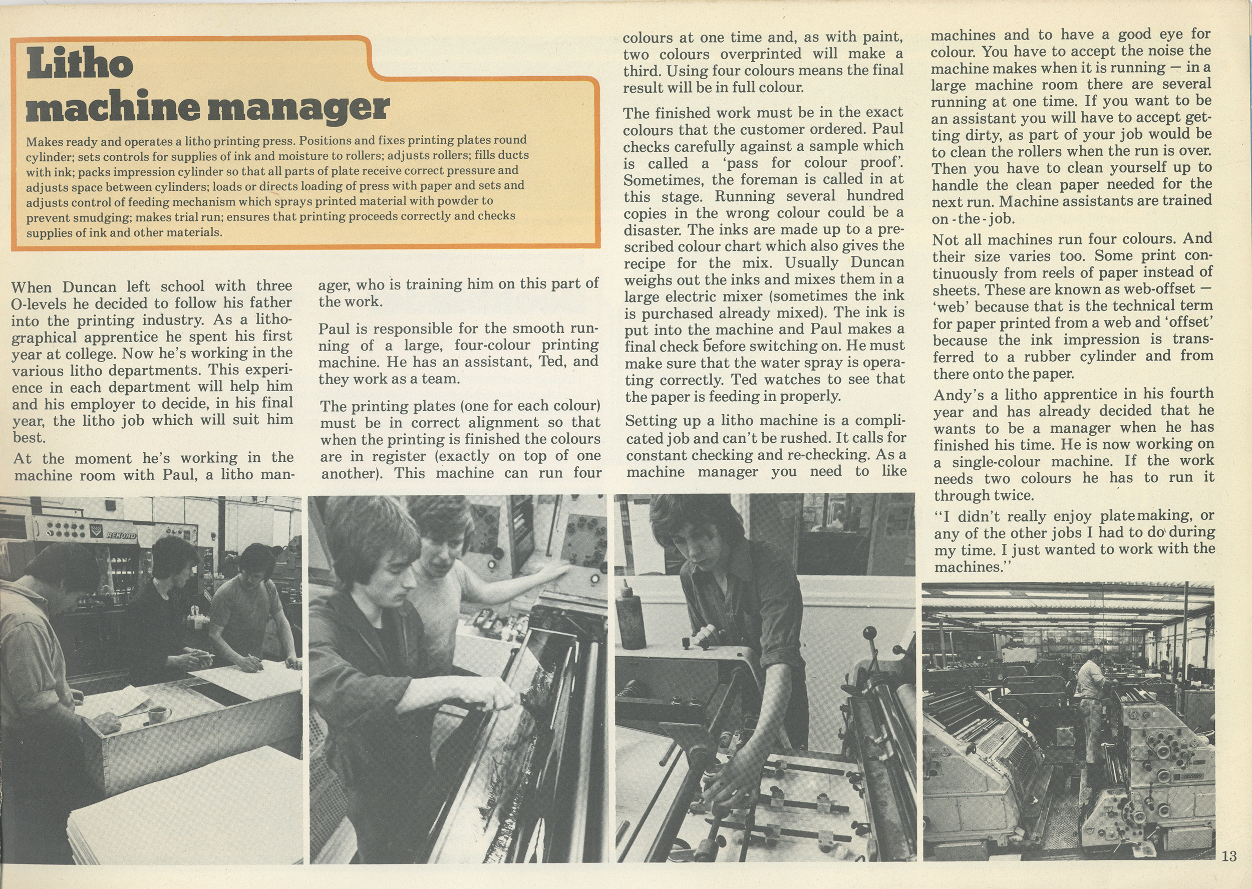 Printed page 'Litho machine manager'