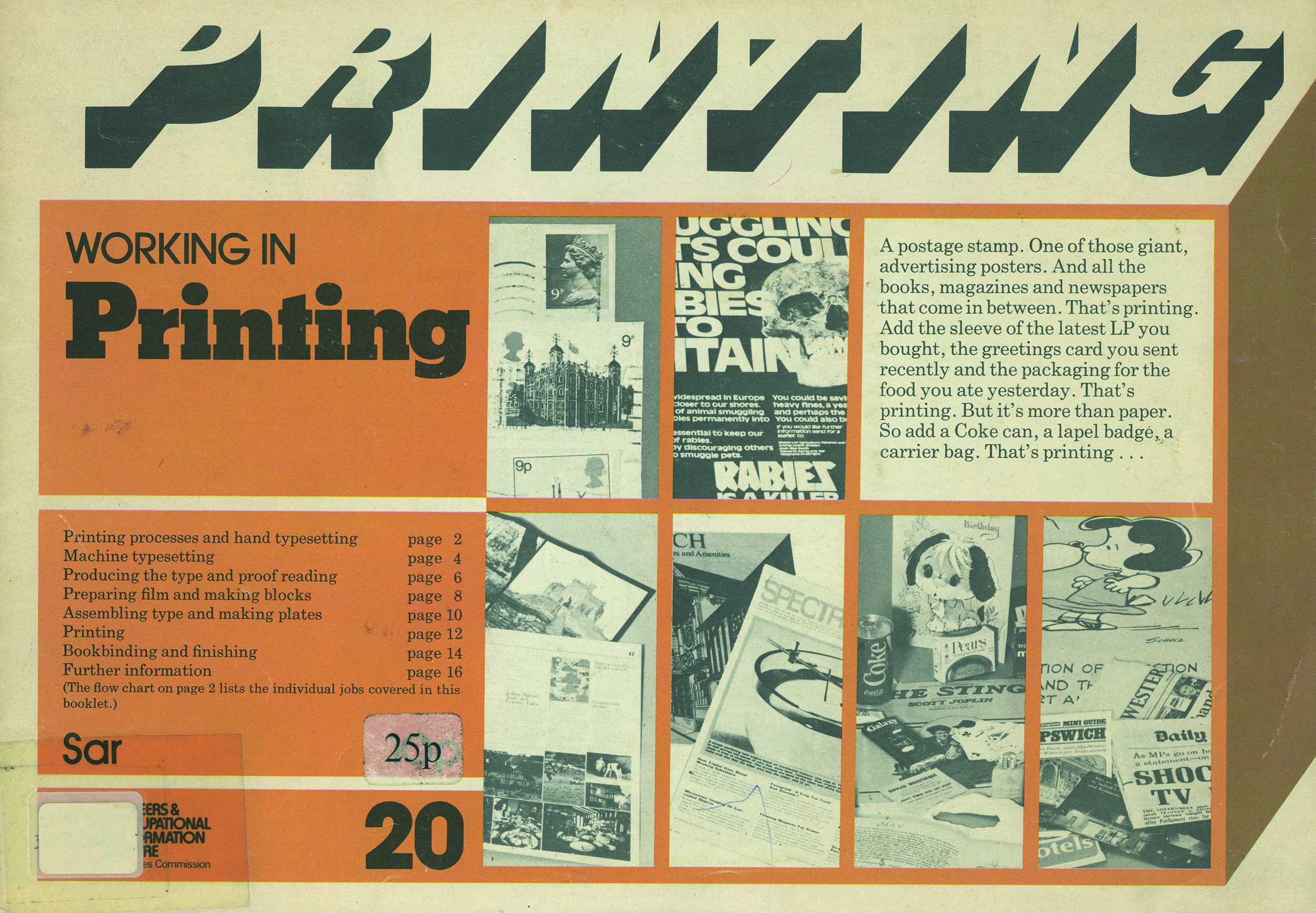 Printed booklet cover 'Working in Printing'