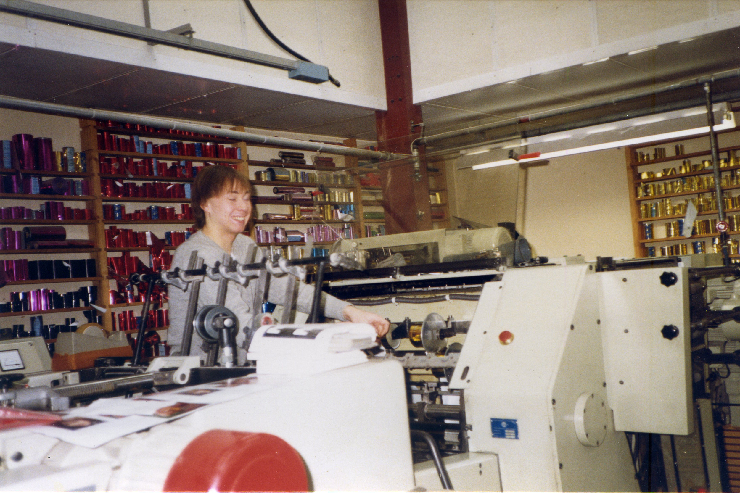Man with foiling and printing equipment