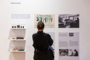 Person looking at the exhibition